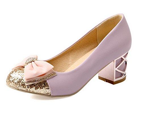 VogueZone009 Donna Tirare Punta Tonda Tacco Medio Luccichio Colore Assortito Ballet-Flats Viola