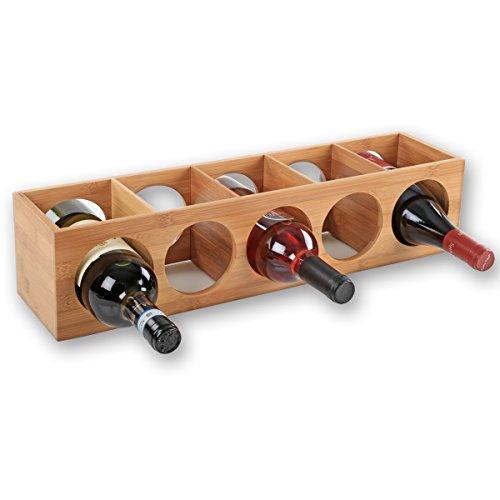 Torrex 30543 Weinregal aus edlem Bambusholz stapelbares Weinflaschenregal für 5 Flaschen Wein, liegend oder stehend, erweiterbar