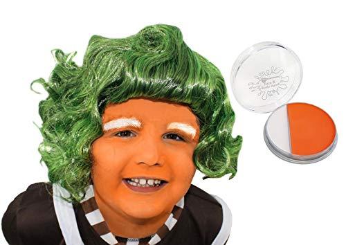 Kinder ilovefancydress Schokolade Fabrik Arbeiter Perücke Kostüm Zubehör grün Haare Kinder (Kostüm Fabrik Schokolade)