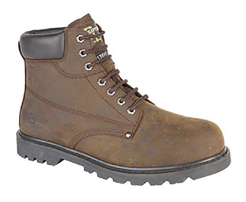 Grafters - Stivali antinfortunistici imbottiti da uomo, taglie varie, colore nero Brown Crazyhorse Leather
