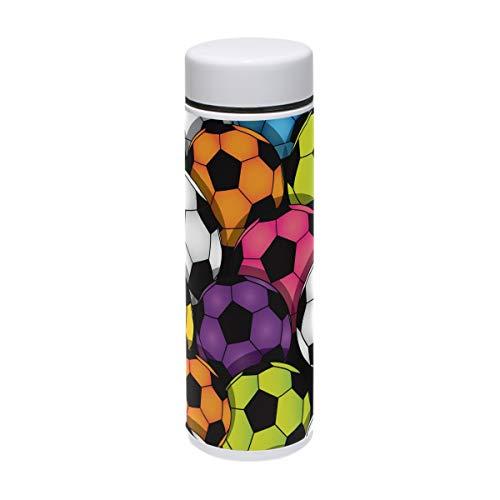 TIZORAX Sport-Thermosflasche mit Fußball-Motiv, Edelstahl, für Outdoor, Camping, Radfahren, Fitness, Fitnessstudio, Yoga, 220 ml
