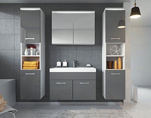 Badezimmer Badmöbel Paso XL LED 80 cm Waschbecken Hochglanz Grau Fronten - Unterschrank 2x Hochschrank Waschbecken Möbel