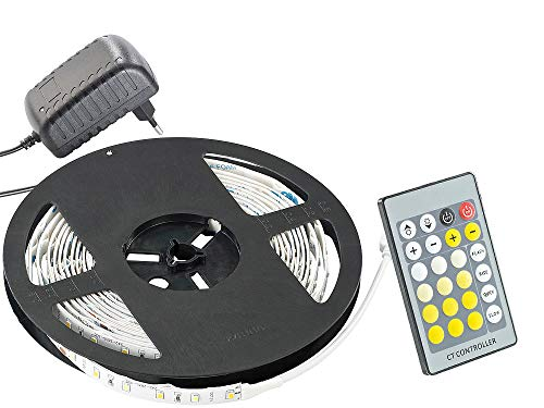Lunartec LED-Strips-Band: LED-Streifen LE-500WMN, weiß/warmw, Innen, Netzteil, Fernbed (LED Lichtband)