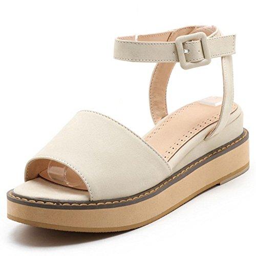 COOLCEPT Femmes Mode Cheville Sandales Orteil Ouvert Compenses Heel Slingback Chaussures Beige