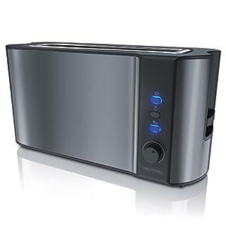 Arendo - Automatik Toaster Langschlitz   Defrost Funktion   Wärmeisolierendes Doppelwandgehäuse   integrierter Brötchenaufsatz   herausziehbare Krümelschublade   in Cool Grey
