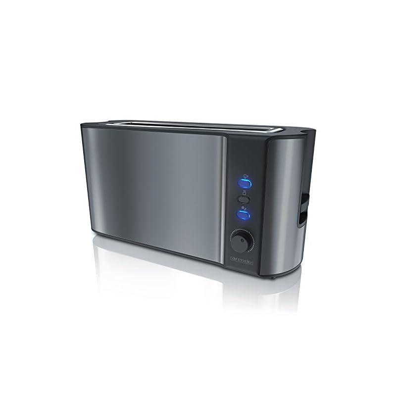 Arendo Automatik Toaster Langschlitz Defrost Funktion Wrmeisolierendes Doppelwandgehuse Integrierter Brtchenaufsatz Herausziehbare Krmelschublade In Cool Grey