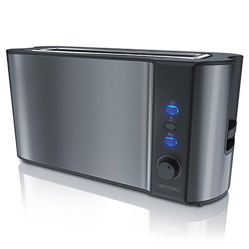 Arendo - Automatik Toaster Langschlitz | Defrost Funktion | Wärmeisolierendes Doppelwandgehäuse | integrierter Brötchenaufsatz | herausziehbare Krümelschublade | in Cool Grey