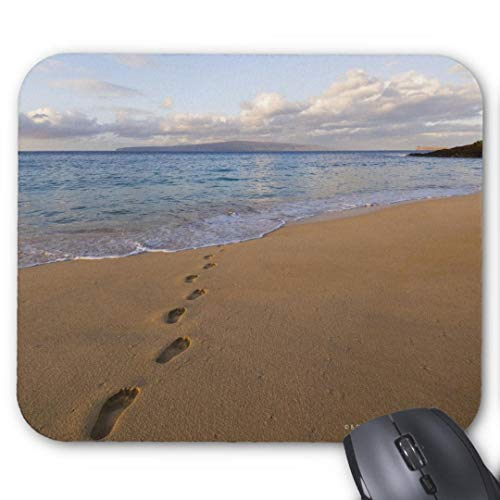 Mauspad für Gaming, rechteckig, für Computer, Laptop, usa Hawaii Maui Wailea Fußabdrücke am Strand 2