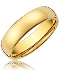 R4U 18K 6mm Gold Plated Comfort Fit Highly Polished Tungsten Carbide Dome Unisex Wedding Ring Band