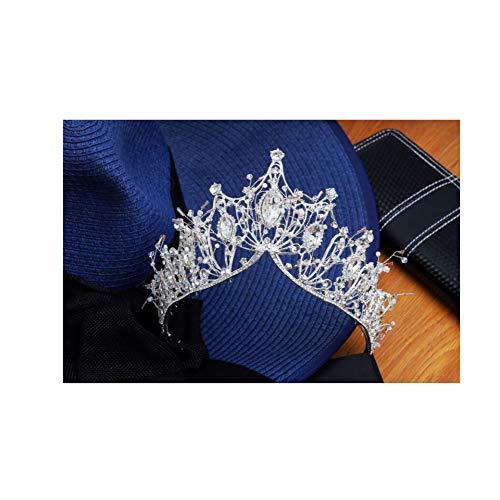 (MYJ Brautkrone, Stirnband Kopfschmuck Luxus Atmosphäre Palace Crown Hochzeit Zubehör,Silber,A)