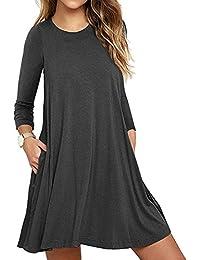 Mujer Casual Loose Talla Grande Vestido de Camiseta con Bolsillos O-Cuello Manga Larga Vestido de Fiesta de…