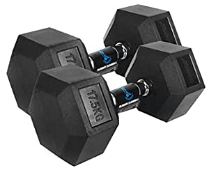 Cockatoo Rubber Coated Professional Hex Dumbbells (Pack of Two, 17.5 Kg Each)
