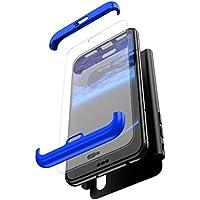 Robinsoni Funda Compatible con Huawei Honor 8X Funda de PC híbrida 360 Grados Protección Case + Pantalla de Cristal Templado 3 in 1 Anti-Arañazos Carcasa Silicona Case Teléfonos Móviles Azul & Negro