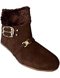 Walk Street Buckle And Fur Style Girls Black Boots (FUR-BOOT)