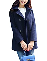 Yasong Women's Girl's Slim Fitted Double Breasted Faux Wool Coat Trench Jacket Peacoat Cape Coat