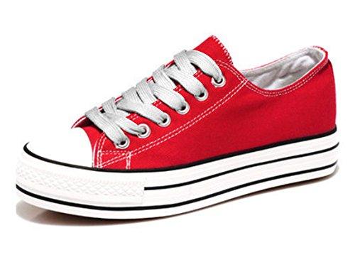 Padgene Baskets Mode Chaussure De Sport Sneakers Chaussures En Toile Chaussure Basse Talons épais Femme Rouge