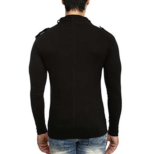 Tees-Collection-Mens-Full-Zip-Buckle-Neck-Full-Sleeve-Black-Colour-T-shirt