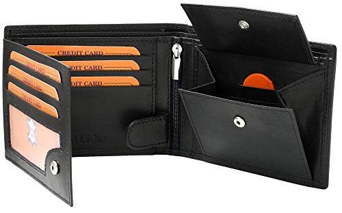 Extra stabile schwarze Herren Ledergeldbörse aus echtem Leder in Querformat Portemonnaie Geldbeutel in Querformat Portemonnaie Geldbeutel #SQ70