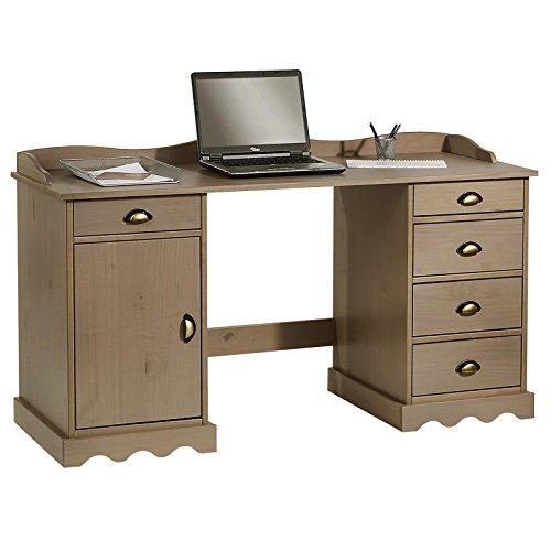 IDIMEX Schreibtisch mit Aufsatz Sandrine Computertisch Bürotisch Arbeitstisch Kiefer massiv Taupe