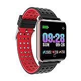 TEEPAO M19 Smartwatch, IP67 wasserdicht, für Erwachsene, quadratisch, Fitness-Tracker, Sport-Armbanduhr, Schrittzähler mit Kalorienzähler für iOS- und Android-Handys Schwarz/Rot