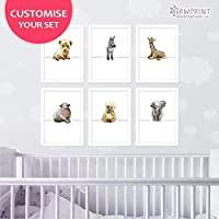 Safari Animal Nursery Prints by Pawprint Illustration | Set of 6 - Lion, Zebra, Elephant, Monkey, Giraffe, Hippo | Customise your Set | Frames not included