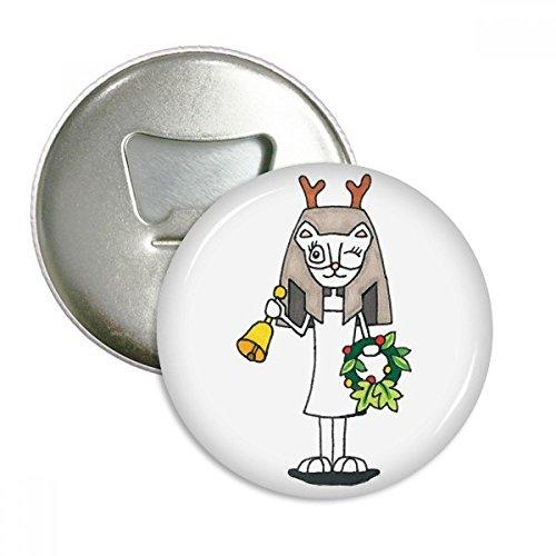(DIYthinker Antlers Bastet Bell-Garland-Runde Flaschenöffner Kühlschrankmagnet-Abzeichen-Knopf 3Pcs Geschenk Silber)
