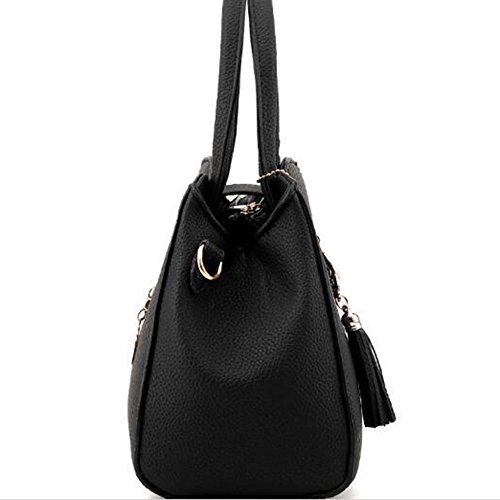 Donna Borse a spalla,PU Leather Handbag Tote Bag Borse a Tracolla Borse Nero