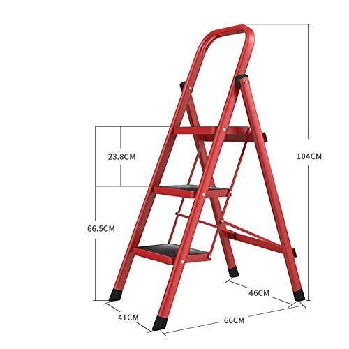 ZHAOYONGLI Sgabelli con Gradino Scale a pioli Pieghevole per Uso Domestico Scale Interne Scala Anti-Urto Scala Mobile Piccola Scala Multifunzione (Colore : Rosso, Dimensioni : 41 * 66 * 104cm)