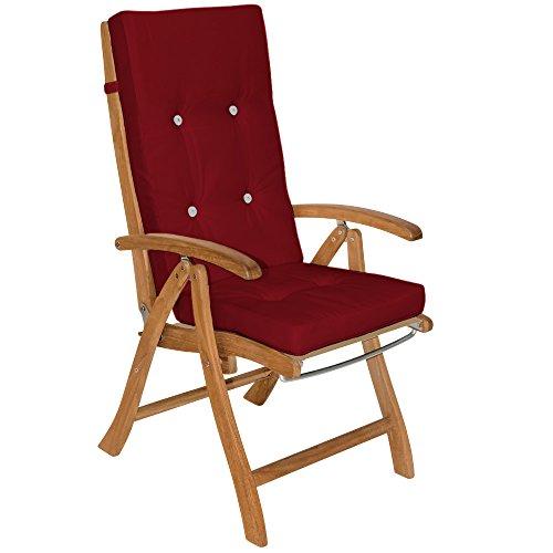 6x Stuhlauflagen Hochlehner Set Sitzauflage Auflage Vanamo Rückenkissen Stuhlkissen Kissen Sitzkissen Rot