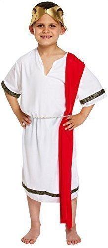 nator weiß& rot Toga historisch büchertag Kostüm Kleid Outfit 4-12 Jahre - Weiß, 4-6 Years (Römischer Senator Toga)
