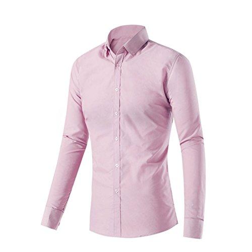 Honghu Casual Slim Fit Manga Larga Cuello Clásico de la Camisa Ocio Camisas Para Hombre Tamaño M Rosa