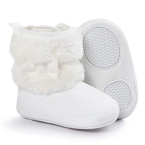 OverDose Baby-Mädchen Bowknot Halten Sie warme weiche Sole Schneestiefel Weiche Krippe Schuhe Kleinkind Stiefel Weiß