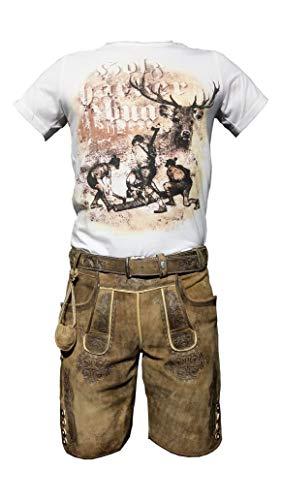 Herren Trachten Set Lederhose Hellbraun kurz mit Gürtel + Trachten T-Shirt (Hellbraun,Gr.48 - T-Shirt Via Mail)