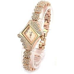 PSFY Brand New Lady Women Quartz Rhinestone Crystal Wrist Watch Rhombus gold surface