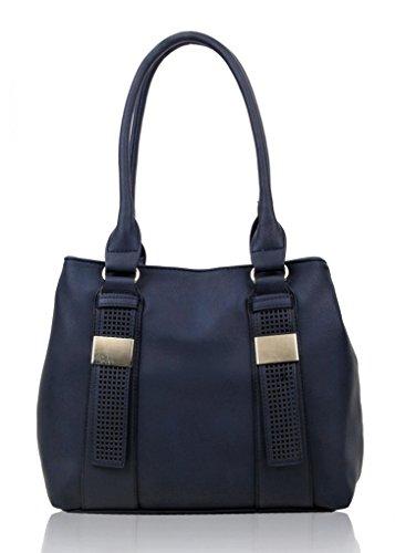 LeahWard Frauen weiche leichte Schulter Handtaschen Qualität Faux Leder Handtaschen für Frauen Für die Schule CW14106 (Burgund Schultertasche) Blau/Marine Zwei Fächertaschen