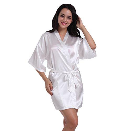 BOYANN Damigella d'onore Vestaglie e Kimono Pigiami e Camicie da Notte Donna Accappatoi Bianco