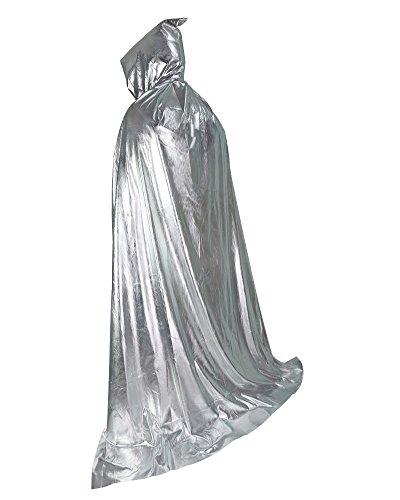 nachten Magic Teufel Lange Vampir Dracula Super Größe 167,6cm Kapuzen Umhang Kostüm Cape silber (Black Magic Man Kostüm)