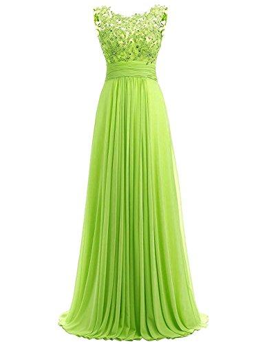 Carnivalprom Damen Chiffon Abendkleider Lange Elegant Hochzeitskleid Spitze Cocktailkleider(Kalkgrün,46) (Lime-grün-cocktail-kleid)
