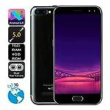 Webla Black Big Deposit Smartphone Nouveau 5.0 Pouces Double Hd Caméra Android 6.0 1G + 4G Gps 3G Appel Mobile Téléphone (Noir)