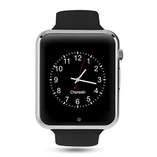 Android Bluetooth Smartwatch [Correa suave], CHEREEKI Reloj de pulsera deportivo con pantalla táctil. soporta tarjetas SIM/tarjetas TF (micro SD), podómetro, Cámara Remota, Message Push, Anti-lost etc