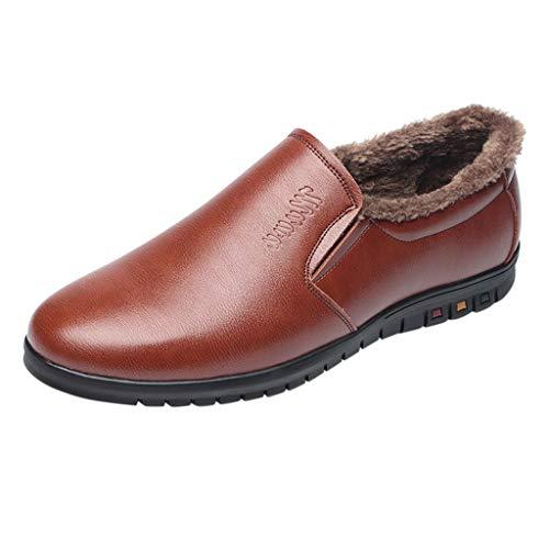 YU'TING ☀‿☀ Mocassini Uomo Pelle Inverno Classic Scarpe Loafers Slip On Scarpe da Guida Scarpe da Barca più Scarpe Calde di Cotone