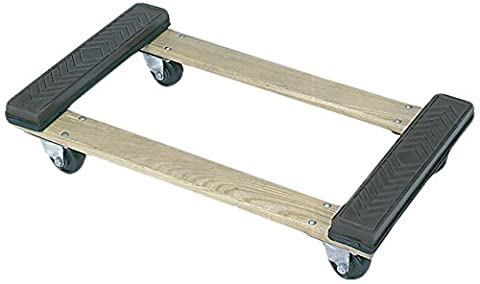 Wesco Industrial Products 272072 Wood Open Deck Rubber Ends Dolly with 4
