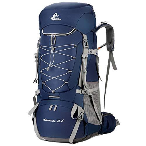 Großer Wanderrucksack, Unisex 75L wasserdichter Nylon-Trekkingrucksack, Outdoor-Tagesrucksack zum Bergsteigen, Camping-Reisetasche mit Regenschutz-blue