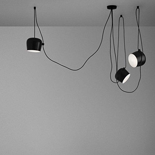Ceiling Light Moderne mehrere verstellbar DIY Kronleuchter Basteln Kreative Spinne Trommel Licht Anhänger höhenverstellbar Loft Multihead für Essen Restaurant Kaffee Bar 3-flammig, E27, schwarz schwarz