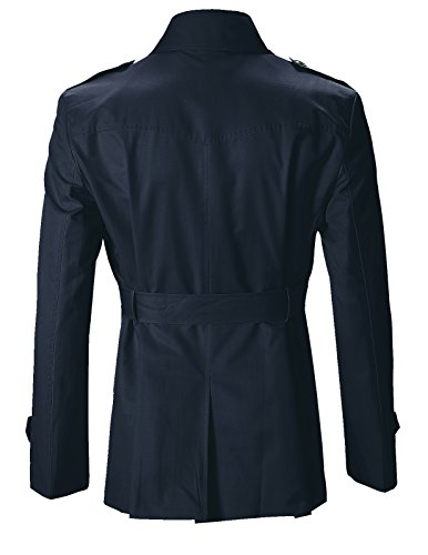 FLATSEVEN Slim Fit Designer Manteau Trench Casual Homme Navy