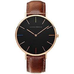 Fashion Pu Leder Uhrenarmband Quarz Armbanduhren Für Herren Armbanduhren Für Damen, Braun-Gold-Schwarz