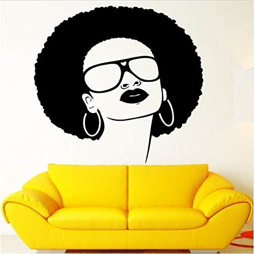 WENHAODJ Mädchen Vinyl Wand Applique afrikanischen schwarzen Hippie Damen Sonnenbrille Ohrringe Wandkunst Wandaufkleber Schönheitssalon Dekoration 70x70cm (Afrikanische Wand-spiegel)