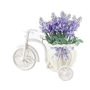Homeofying 1ramo de ratán flotador en maceta artificial lavanda flor con maceta florero bonsái boda decoración mezcla de…