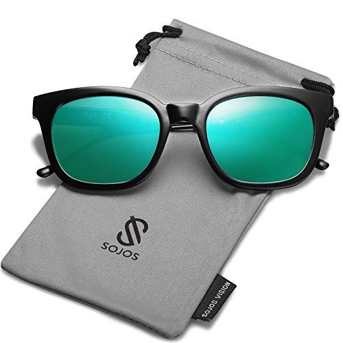 SOJOS Fashion Rechteckig Polarisierte Sonnenbrille Damen Herren in Mode SJ2050 mit Black Rahmen/Grün Linse
