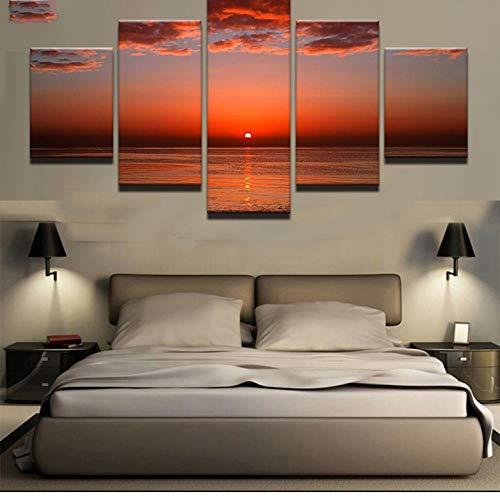 ild leinwand malerei 5 panel sonnenuntergang glühen farbigen himmel rot seelandschaft moderne wohnzimmer dekoration ()